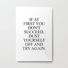 If at first you don't succeed, dust yourself off and try again Metal Print