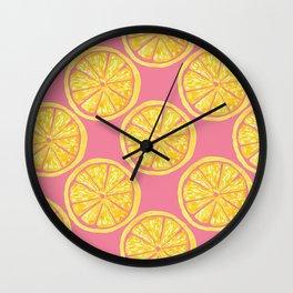 Lemon Slices |Yellow Watercolor Citrus Fruit on Pink | Renee Davis Wall Clock