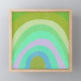 Find me under the rainbow - green tones Framed Mini Art Print