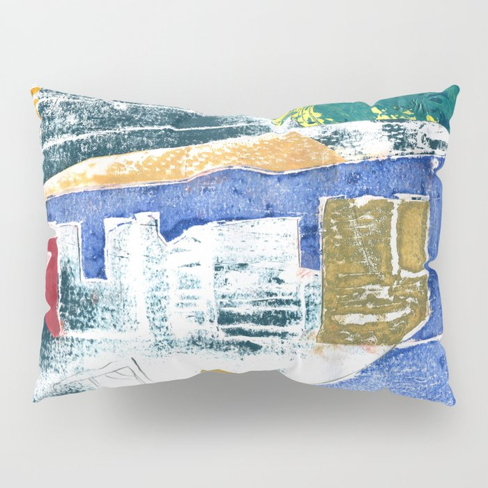 Abstract Building Blue Pillow Sham