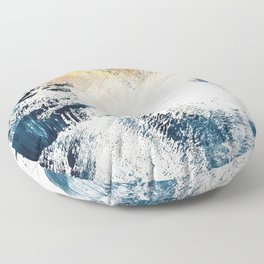 Sunset [1]: a bright, colorful abstract piece in blue, gold, and white by Alyssa Hamilton Art Floor Pillow