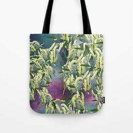 Wattle blooms in an abstract landscape Tote Bag