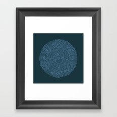 Primitive Blue Circle Framed Art Print