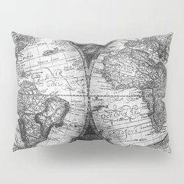 World Map Antique Vintage Black and White Pillow Sham