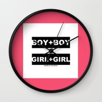 equality Wall Clocks featuring equality by bisualhart