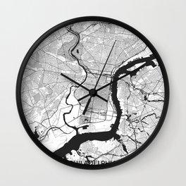 Philadelphia Map Gray Wall Clock