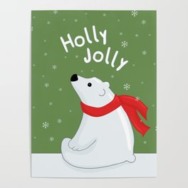 Polar Bear - Holly Jolly Poster