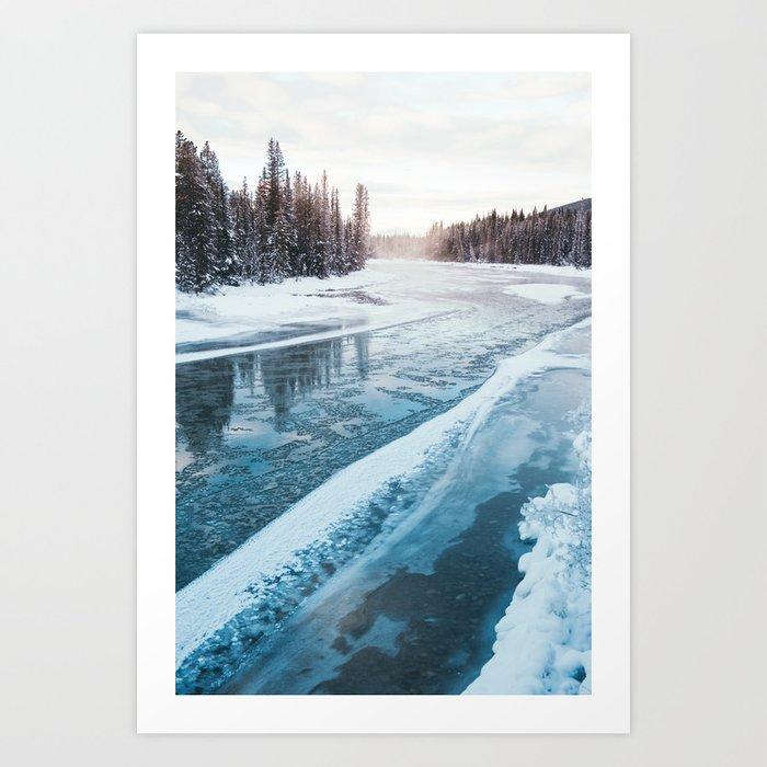 Frosty River Banks Art Print