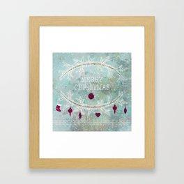 New Year. Grunge blue . Framed Art Print