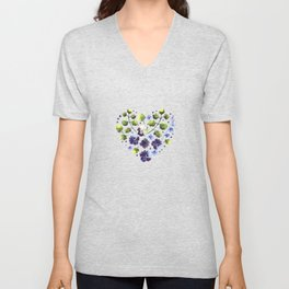 Watercolor decorative blue flowers heart Unisex V-Neck