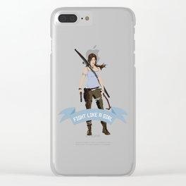 Fight Like a Girl: Lara Croft Clear iPhone Case