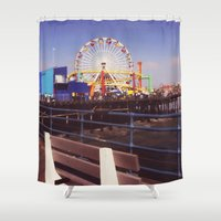 santa monica Shower Curtains featuring Santa Monica Pier by Rachel Barrett