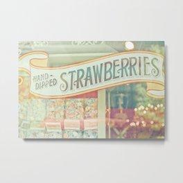 Hand-Dipped Strawberries Metal Print