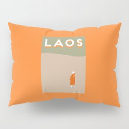 Laos, Mekong River Travel Poster Block Type Pillow Sham