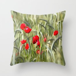 Corn Poppies Throw Pillow