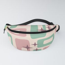 Retro Mid Century Modern Abstract Pattern 222 Dusty Rose and Pastel Green Fanny Pack