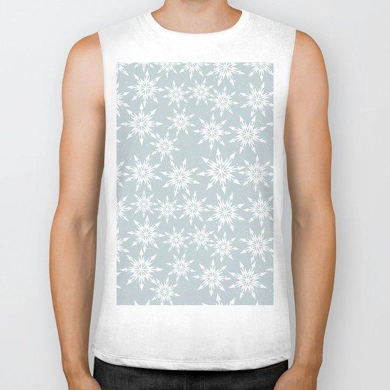 Merry Christmas Wintertime - Snowflakes pattern Biker Tank