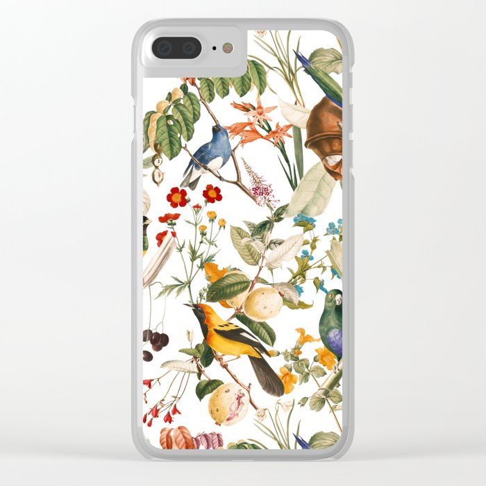 Floral and Birds XXXII Clear iPhone Case