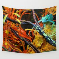 chameleon Wall Tapestries featuring Chameleon by Geni