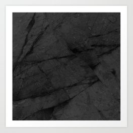 Dark Grey Matte Black Marble Art Print