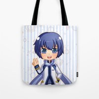 vocaloid Tote Bags featuring Kaito by Nozubozu