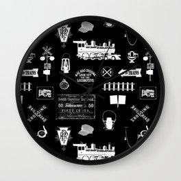 Railroad Symbols on Black Wall Clock