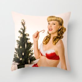 """What Should We Unwrap First?"" - he Playful Pinup - Christmas Pinup Girl by Maxwell H. Johnson Throw Pillow"