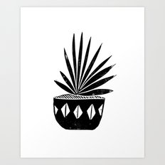 houseplant linocut aloe vera art botanical black and white lino printmaking art minimal modern Art Print