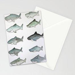 Cute Watercolor Sharks - Ocean Watercolor Art Stationery Cards