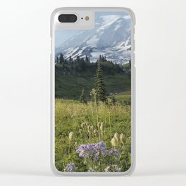 Wildflowers and Mount Rainier Clear iPhone Case