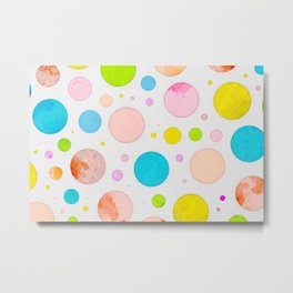 Colored Circles Abstract Sketch , Colorful Sketch, Children Drawing, Doodle Illustration, Wall Art Metal Print