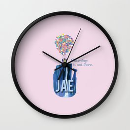 "custom order pink Jae ""adventure is out there""  Wall Clock"