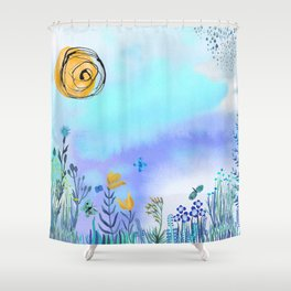 Blue Garden II Shower Curtain