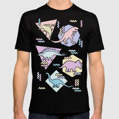 Nineties Dinosaurs Pattern  - Pastel version LARGE Black Mens Fitted Tee