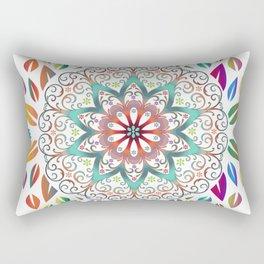 Colourful Leaves Mandala Design On White Rectangular Pillow