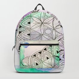 Pastel Mandala/Crystal Grid, Sacred Geometry Backpack