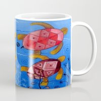 swimming Mugs featuring Swimming by Montes Arte Mexicano
