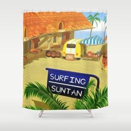 Costa Del Sol Surfing Suntan Shower Curtain