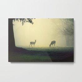 Two Deer on Green Metal Print