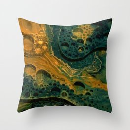 Abstract Art - Green And Gold Textured Bubbled Swirls - Paint Play Throw Pillow