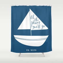 Dr Seuss Oh The Places Youll Go Navy Sail Boat Shower Curtain