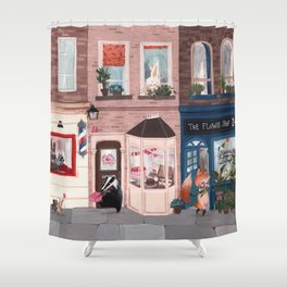 Lemur street Shower Curtain