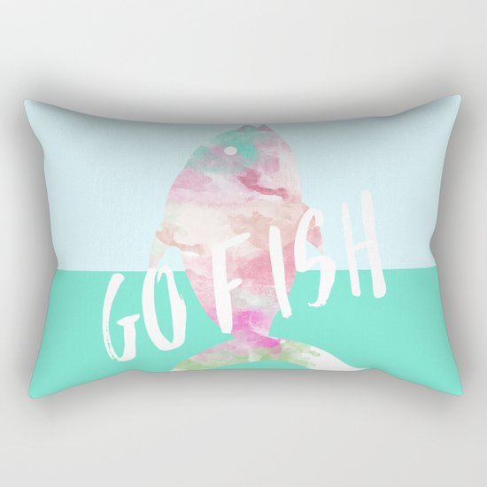 Go Fish With Quote #society6 Rectangular Pillow