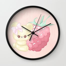 Raspberry Cutie Bear Wall Clock