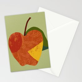 Textured plain apple Stationery Cards