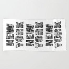 New York  B&W typography Beach Towel