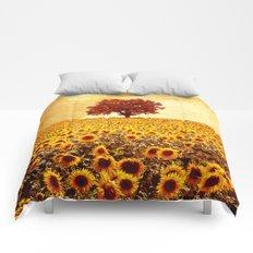 lone tree & sunflowers field Comforters