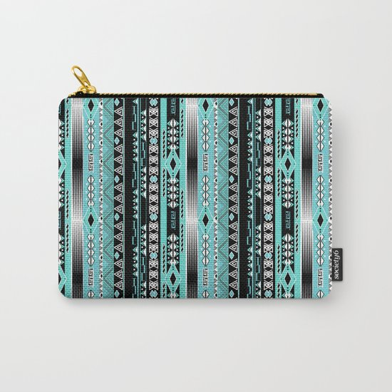 Abstract ethnic pattern in turquoise , black and white . Carry-All Pouch