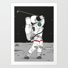 Golf on the moon - Astronaut Art Print