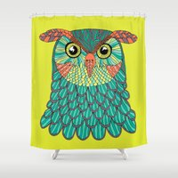 lime green Shower Curtains featuring owl - Lime green by bluebutton studio